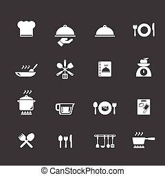 cocina, y, cocina, iconos