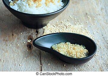 cocinado, arroz,  quinua