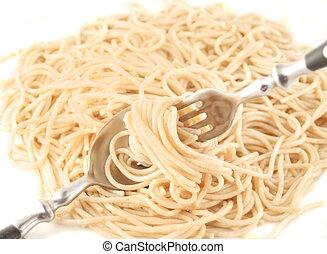 cocinado, espaguetis