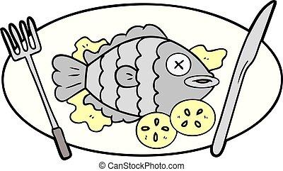 cocinado, pez, caricatura