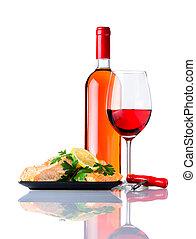 cocinado, pez, con, botella, y, vidrio, vino rosado, blanco, plano de fondo