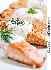 cocinado, salmón