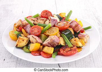 cocinado, vegetales