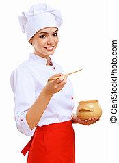cocinero, alimento, joven, preparando