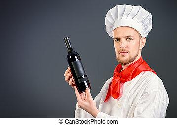 cocinero, asideros, un, vino