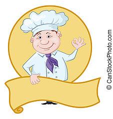 cocinero, con, cartel