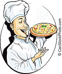 cocinero, con, pizza