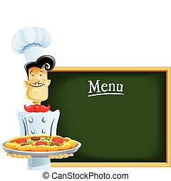cocinero, con, pizza, y, menú