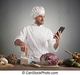 cocinero, con, tecnología