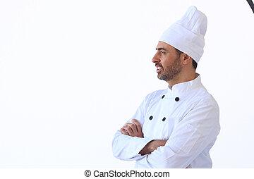 cocinero, en, blanco, toque, uniforme