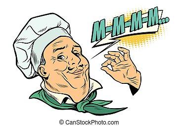 cocinero, gesto, de, delicioso, sensaciones