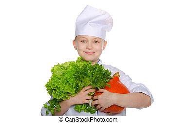 cocinero, hierbas, calabaza