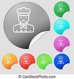 cocinero, icono, signo., conjunto, de, ocho, multi coloró, redondo, botones, stickers., vector