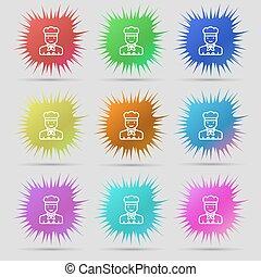 cocinero, icono, signo., un, conjunto, de, nueve, original, aguja, buttons., vector