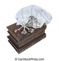 cocinero, libros, con, chef, toque, y, cucharas para medir