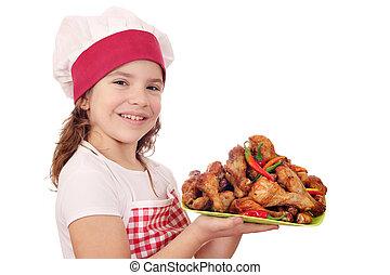 cocinero pequeño, pata de pollo, niña, pollo, feliz