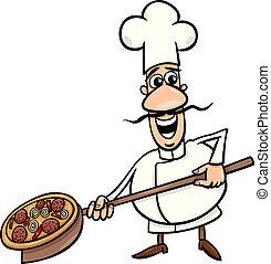 cocinero, pizza, caricatura, ilustración, italiano