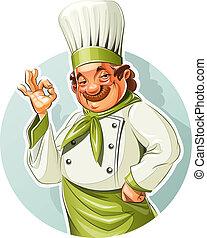 cocinero, sonriente, aprobar, exposición