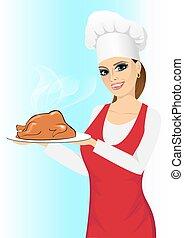 cocinero, sonriente, cocido al horno, pollo, feliz