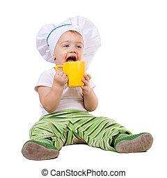cocinero, taza del bebé, toque