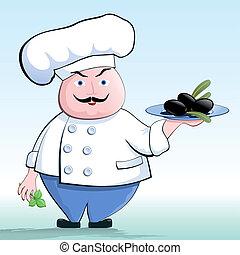 cocinero, un, vegetariano