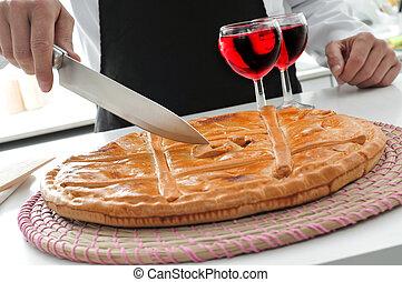 cocinero, y, empanada, gallega, un, sabroso, disecado, pastel, típico, de, spai