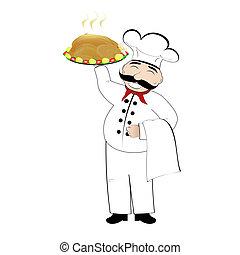 cocinero, y, pollo asado, en, un, blanco, b