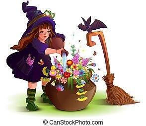 cocineros, flor, magia, halloween, poción, bruja, niña, ...