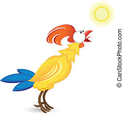 Cock and the sun. Illustration on white background