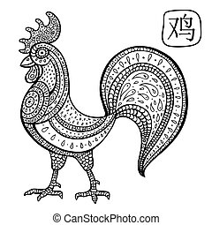cock., astrológico, chino, signo., animal, zodiac.