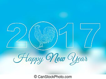 Cock. Blue and white backgrounds. Symbol 2017. Rooster 2017. Happy New Year. Holiday card, banner