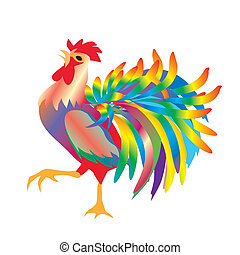 Cock, - composition with colorful rooster with red crest