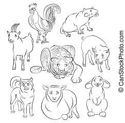 Cock-dog-Goat-pig-rabbit-rat-sheep-tiger