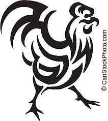 cock in tribal style - vector illustration - vector...