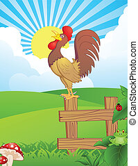 Cock on a fence for wake up calling