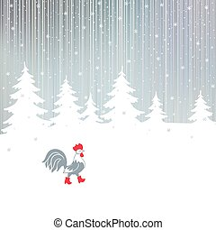 Cock walking on a snowy winter the magical forest. - Rooster...