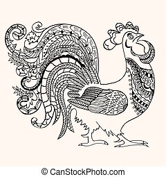 Cock with abstract pattern. Vector illustration. Hand drawn...