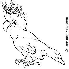 cockatoo parrot coloring page - Black and White Cartoon...