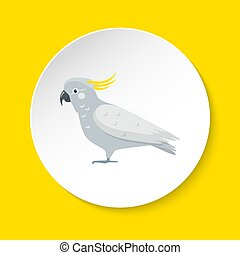 Cockatoo parrot icon in flat style