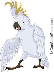 Cockatoo, - Vector image of very happy cartoon cockatoo,