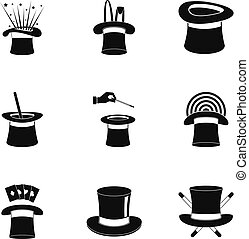 Cocked hat icons set, simple style