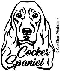 Cocker Spaniel head with name