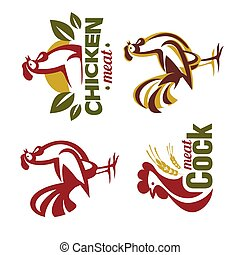 cockerel and chicken logo template, stylized vector symbol collection