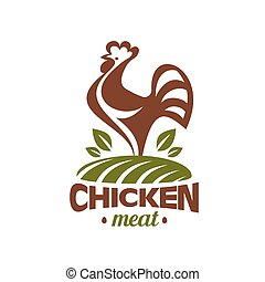 cockerel and chicken logo template, stylized vector symbol