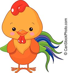 Cockerel - Illustration of cute motley cockerel
