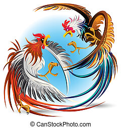 cockfight, 戦い, 雄ん鶏