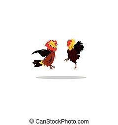 Cockfight. Vector Illustration.