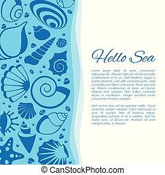 cockleshells, été, frame., seashell, bord mer, vecteur, fond, décoré, vacances, carte