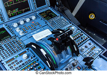 Cockpit console - Console of a cockpit with its instruments