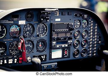 cockpit, detail., cockpit, von, a, klein, flugzeug